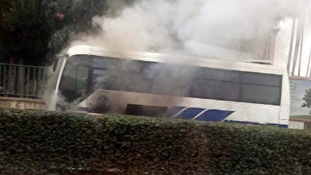 Halk otobüsünde korkutan yangın!