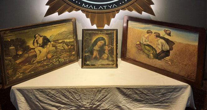 Malatya'da Hz. İsa ve Hz. Meryem figürlü 3 tablo ele geçirildi